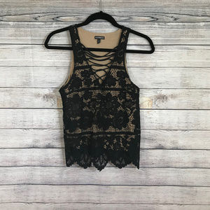 Black Express Lace and Ties Sleeveless Top